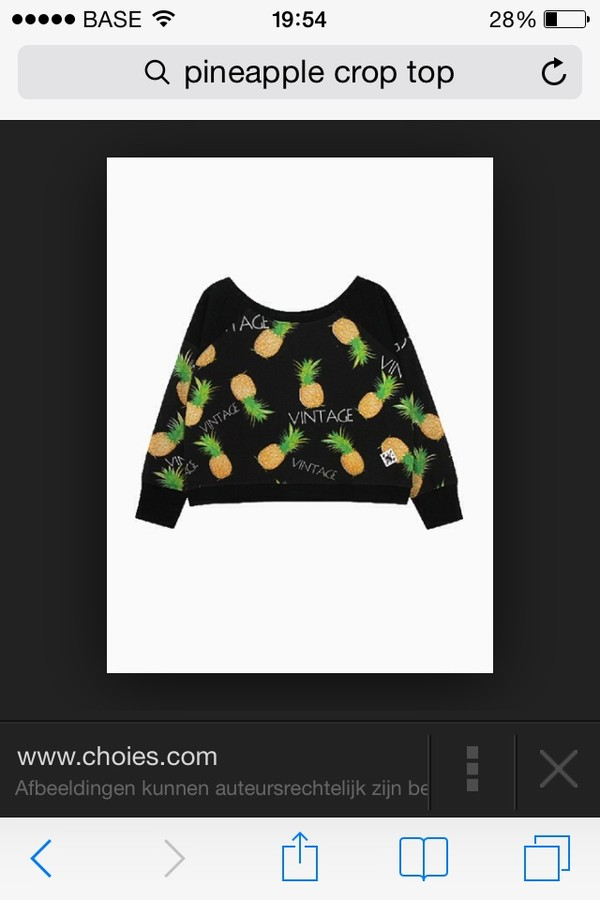sweater pineapple vintage crop tops