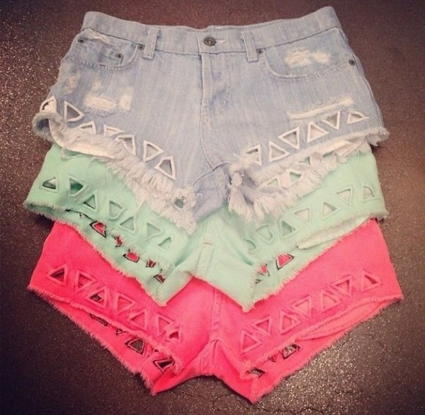 shorts red denim green cut-out