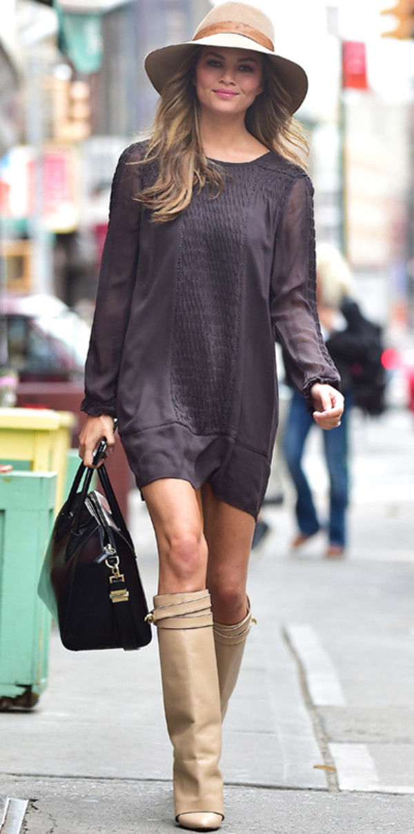 dress chrissy teigen knee-high boots fall outfits