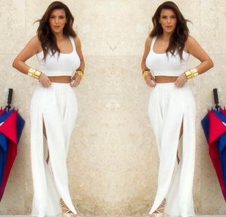 pants kim kardashian kardashians white wide-leg pants summer outfits