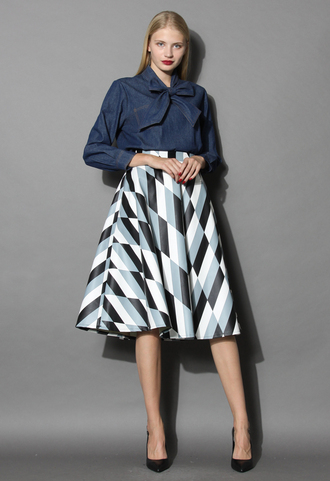 skirt chic patterned faux leather a-line midi skirt chicwish midi skirt a-line skirt