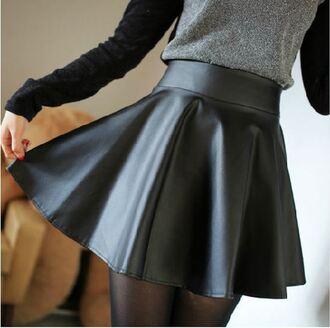 skirt black it girl shop leather skater skirt high waisted hipster flare pastel goth hippie