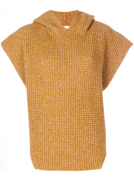 See by Chloe sweater poncho sweater women mohair cotton wool yellow orange
