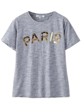 t-shirt free shipping cute fashion brenda-shop cotton cotton t-shirt paris letter t-shirts top back to school grey grey t-shirt gold trendy
