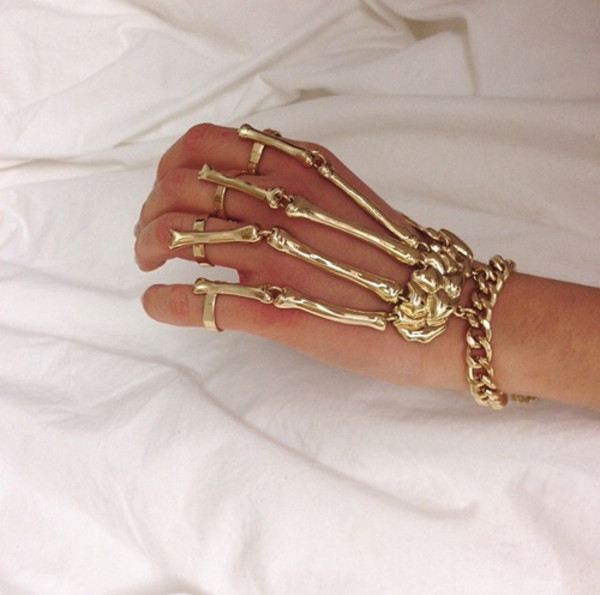 jewels bracelets skeleton gold chain