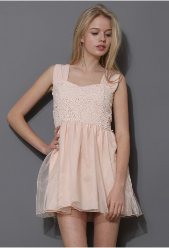 Floral Crochet Organza Mini Dress in Pink - Retro, Indie and Unique Fashion
