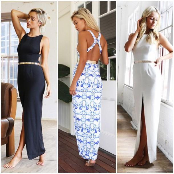 dress maxi dress black dress patterned dress white dress detailed back open back dresses