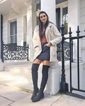 coat,tumblr,white coat,fuzzy coat,skirt,mini skirt,boots,over the knee boots,over the knee