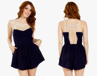 romper navy blue white ivory lace backless skirt short pockets 2015 outfit beach summer spring selena gomez miley cyrus kourtney kardashian