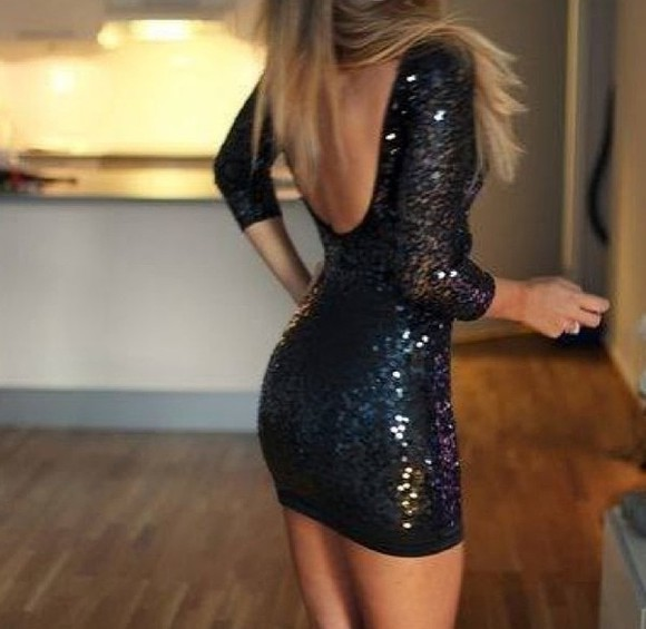 dress black sequin dress black mini dress low cut back tight black dress black tight sparkle dress little black dress, sparkly, long sleeved, short dress, party
