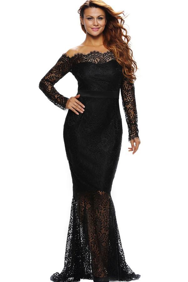 Black Off Shoulder Long Sleeve Eyelash Lace Mermaid Maxi Dress