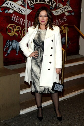 coat dress alyssa milano fall outfits shoes