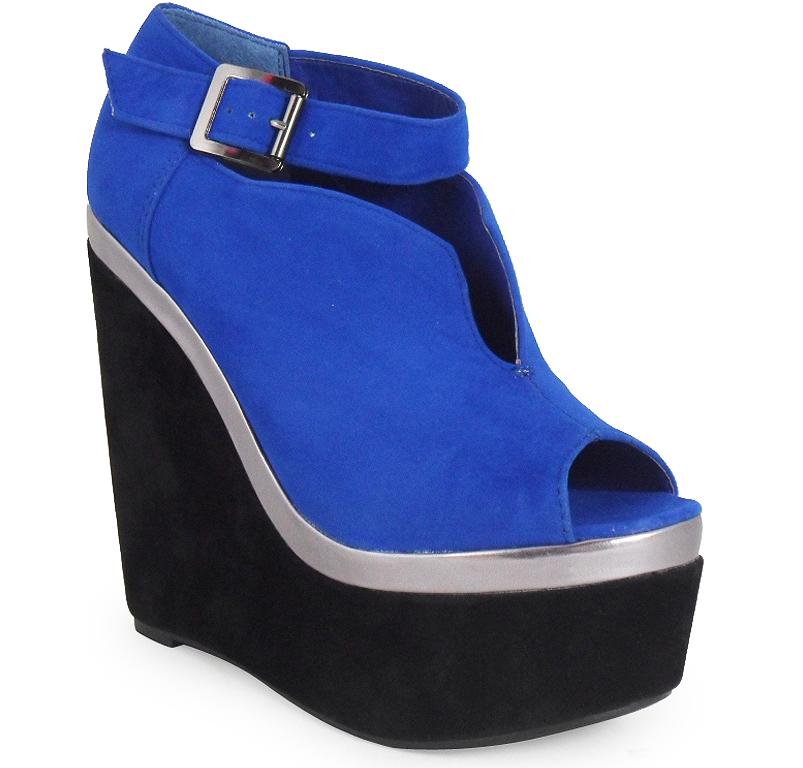 Womens ladies ankle faux suede peeptoe platform high heel wedges shoes boots 3