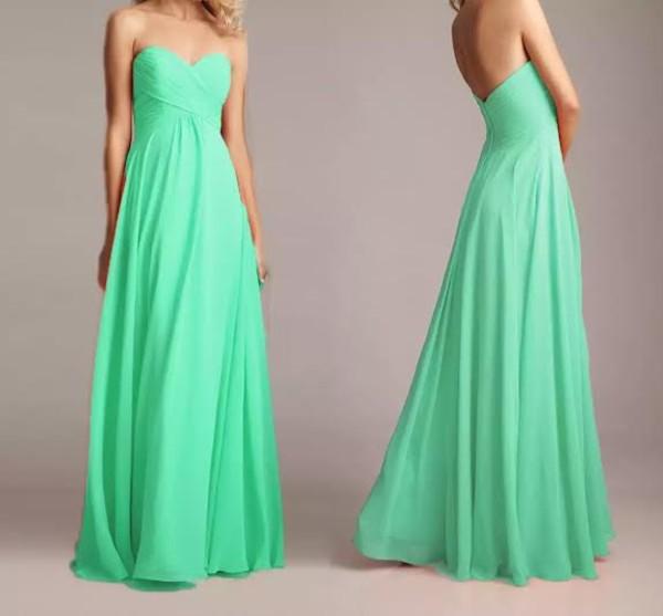 dress mint chiffon long dress