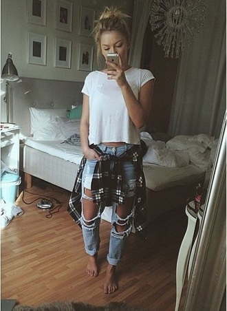 jeans tumblr. jeans. ripped shirt
