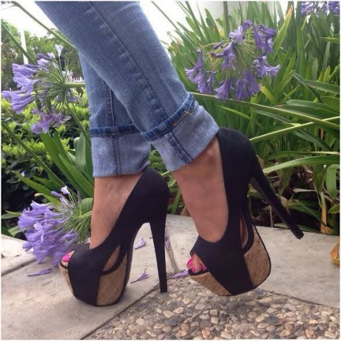 Black Espadrille Platform Pump Heels Faux Leather