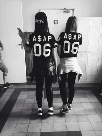 t-shirt a$ap black shirt black white grey dope number jersey leather all black converse vans asap rocky gun locker nike snapback asap rocky