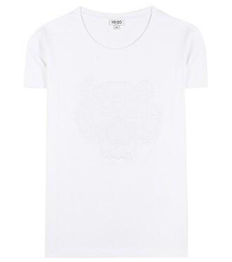t-shirt shirt cotton t-shirt embroidered cotton white top