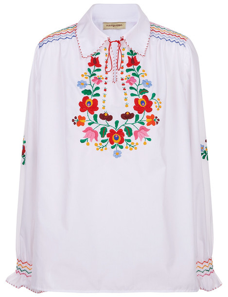 shirt collar shirt embroidered white