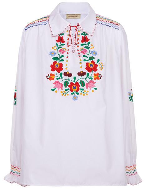 Muzungu Sisters shirt collar shirt embroidered white