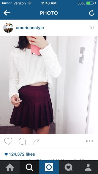 sweater white sweater white cropped red skirt top oversized white sweater oversized sweater cropped sweater red skirt skater skirt pleated pleated skirt red skater skirt burgundy maroon/burgundy shirt