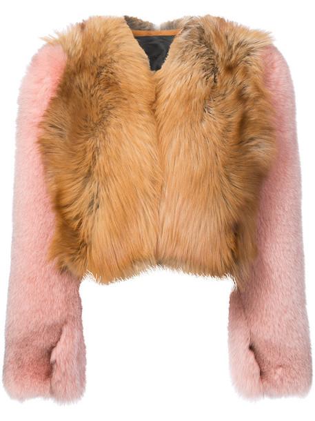 Dvf Diane Von Furstenberg coat oversized cropped fur fox women brown