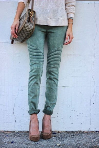 pants jeans green green pants romper clothes textured pants cargo bag