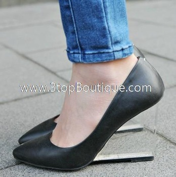 FREE SHIPPING korea fashion transparent heel 9cm wedge shoes for women-in Pumps from Shoes on Aliexpress.com