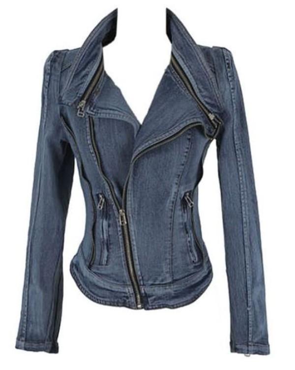 jacket denim jacket zipper jacket multiple zippers slim cut jacket off center zipper long sleeve jacket www.ustrendy.com