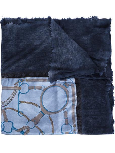 printed scarf women scarf blue silk