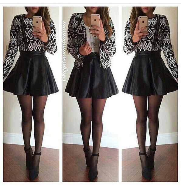 jacket skirt style skater skirt high heels fashion outfit