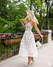 dress,tumblr,lace dress,white lace dress,midi dress,pumps,pointed toe pumps,high heel pumps,bag,all white everything,white bag,shoes,streetstyle,nordstrom