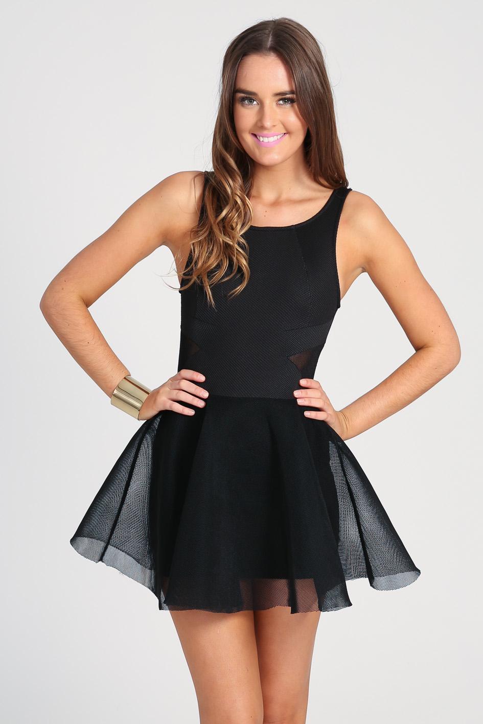Black Little Black Dress - Black Mesh Party Dress | UsTrendy