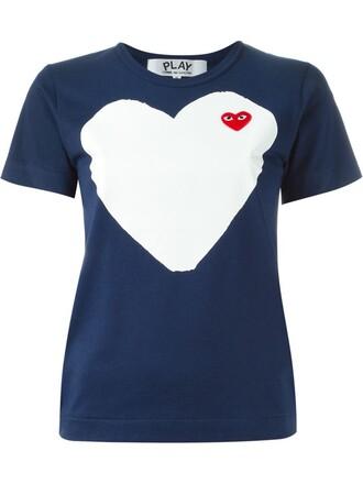 t-shirt shirt heart print blue top