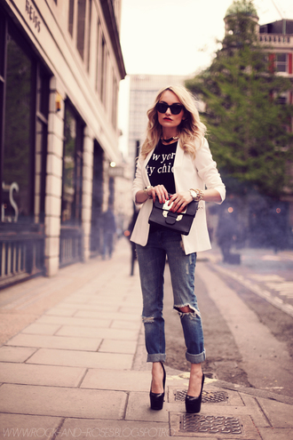 rock and roses jacket bag jewels sunglasses shoes jeans t-shirt