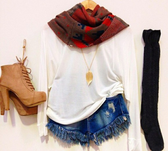 shorts scarf leg warmers boots