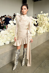 dress,shay mitchell,fashion week,celebrity,boots