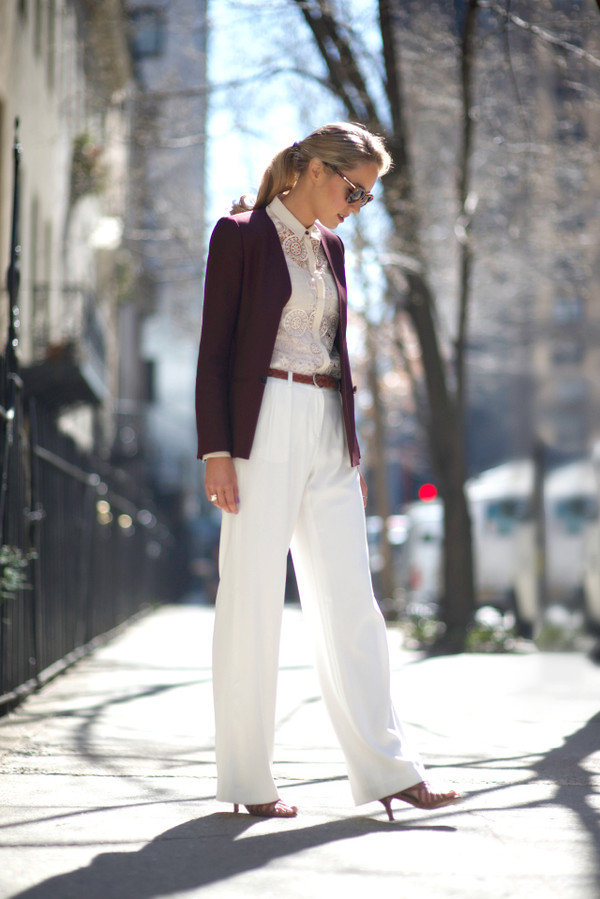 the classy cubicle pants blouse jacket belt shoes sunglasses