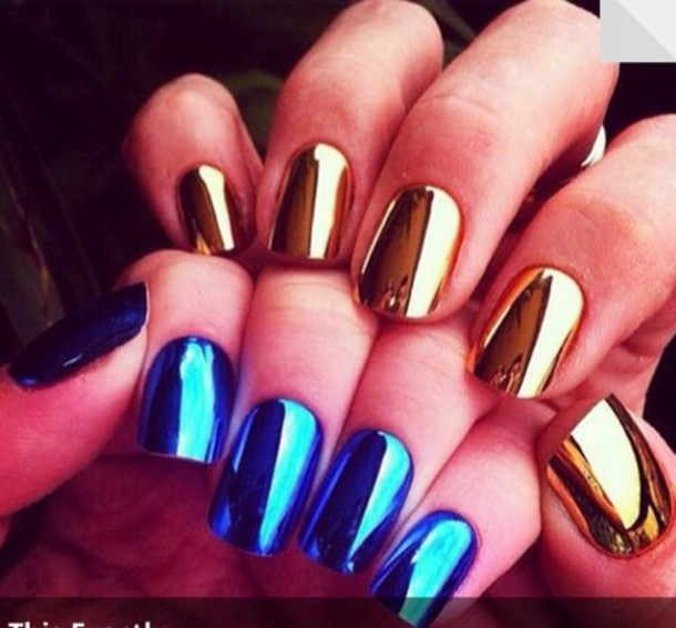 nail polish, gold, blue, nails, metallic, shiny, nail accessories ...