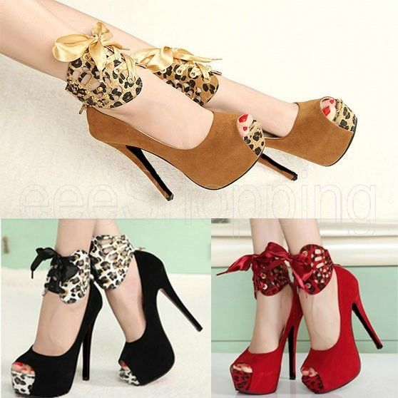 Ladies Women High Heels Pumps Stiletto Platform Peep Toe Sandal Waterproof Shoes | eBay