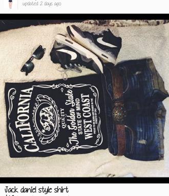 top california the golden state jack daniel's jack daniels print jack daniels shirt cali