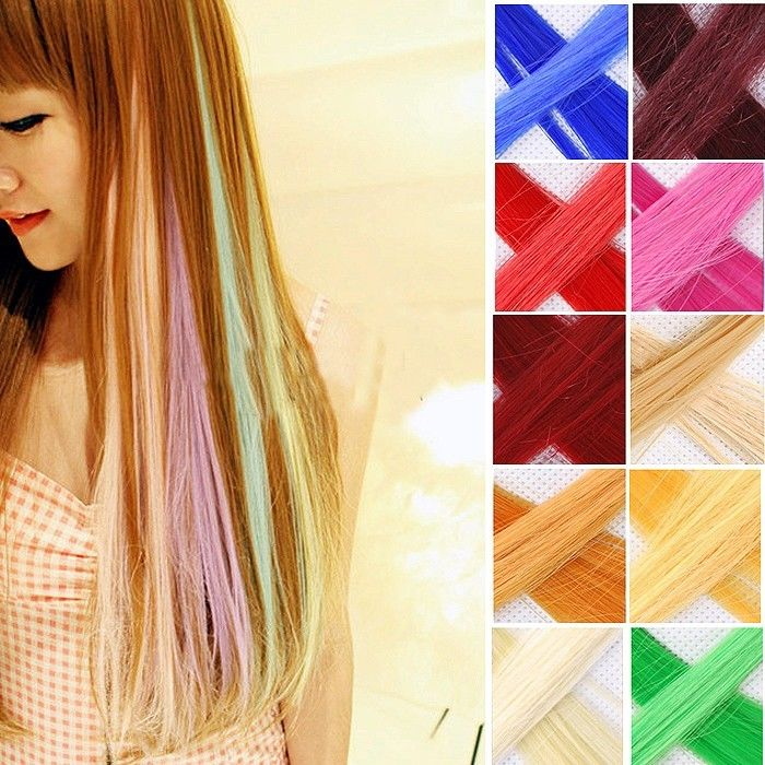 "20"" Hair Extension Neon Long Clip WIP Fashion Shiny Rainbow Cosplay Women Cool Q 