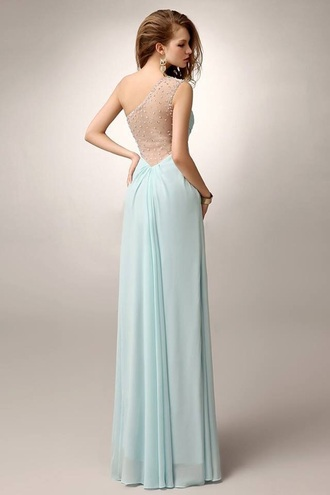 dress one shoulder mintgreen prom dress long prom dress