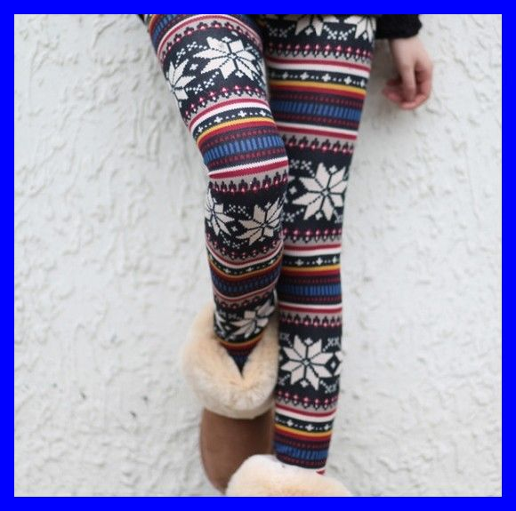 Hot Colored Snowflakes Soft Knitted Multi patterns Christmas Comfortable Crystal Pattern Autumn Winter Tights Pants Free Size-in Leggings from Apparel & Accessories on Aliexpress.com | Alibaba Group