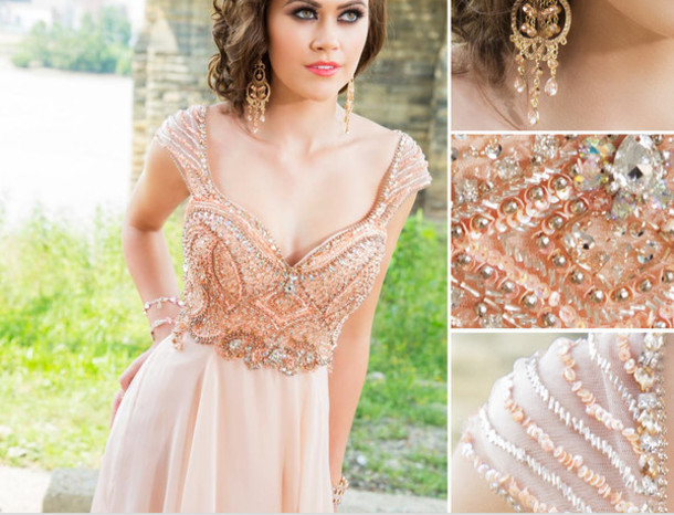 dress, peach chiffon dresses, cap sleeves beaded prom gowns, mermaid ...
