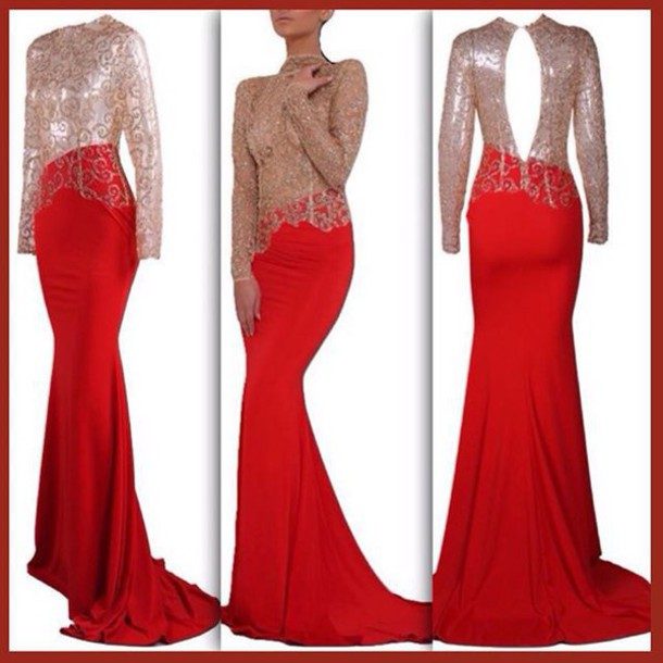 dress, lost souls, red dress, long red dress, long red prom dress ...