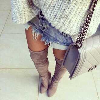 boots kneehigh fall outfits bag pia mia perez grey chanel chanel bag christian louboutin