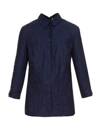 shirt back open navy top