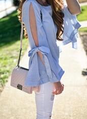 top,tumblr,slit,slit top,long sleeves,blue top,denim,jeans,blue jeans,bag,nude bag