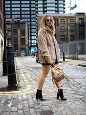 bag,nude jacket,black skirt,tumblr,backpack,jacket,fuzzy jacket,skirt,mini skirt,boots,ankle boots